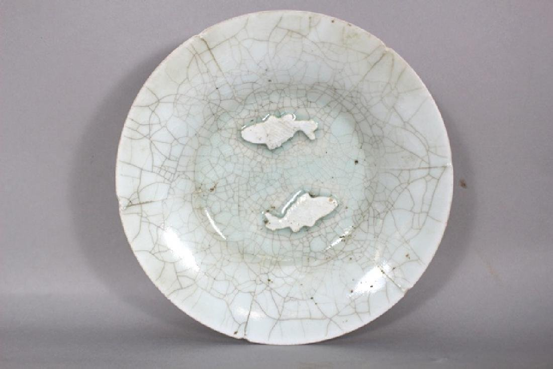 Crackle Chinese Porcelain Bowl  2 Fish