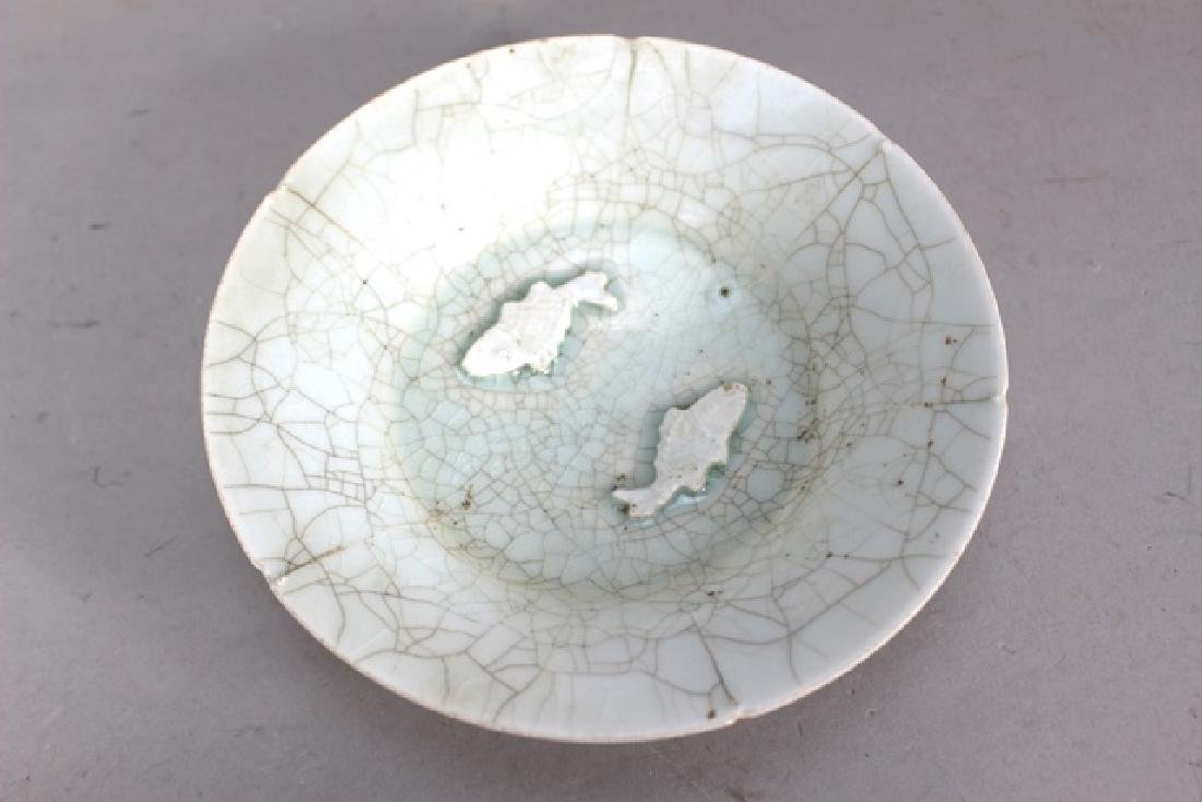 Crackle Chinese Porcelain Bowl  2 Fish - 2