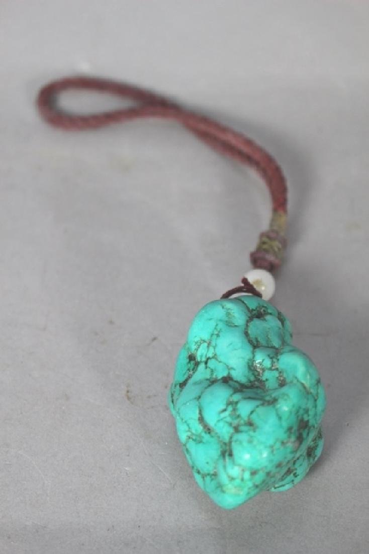Chinese Turquoise Court Necklace & Raw Pendant - 2