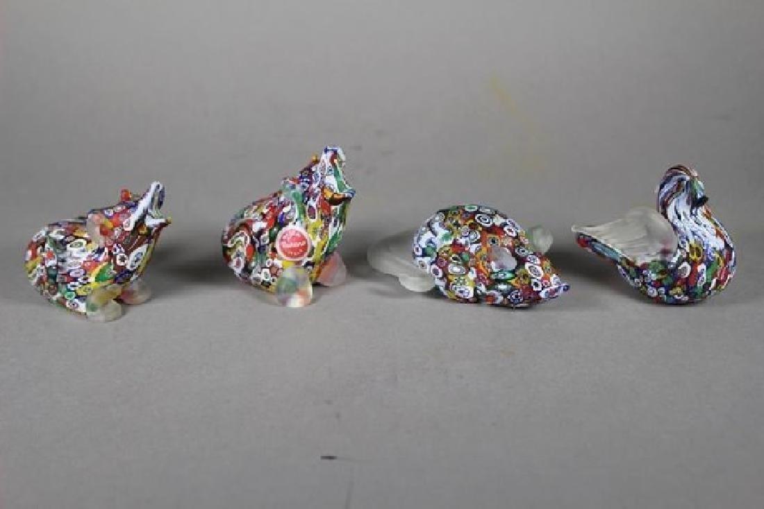 4 Murano Millefiori Art Glass Animals