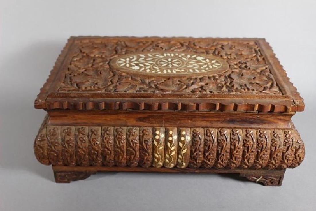 Teak Wood Carved Dresser Box
