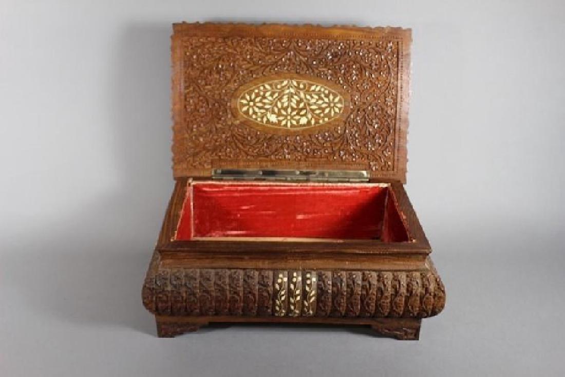 Teak Wood Carved Dresser Box - 2