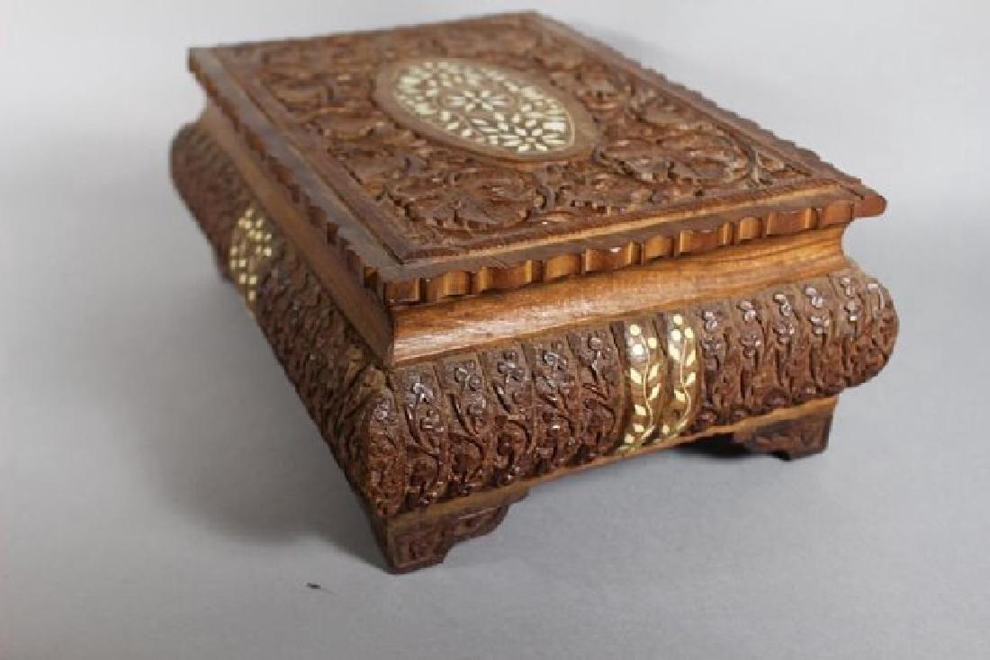 Teak Wood Carved Dresser Box - 5