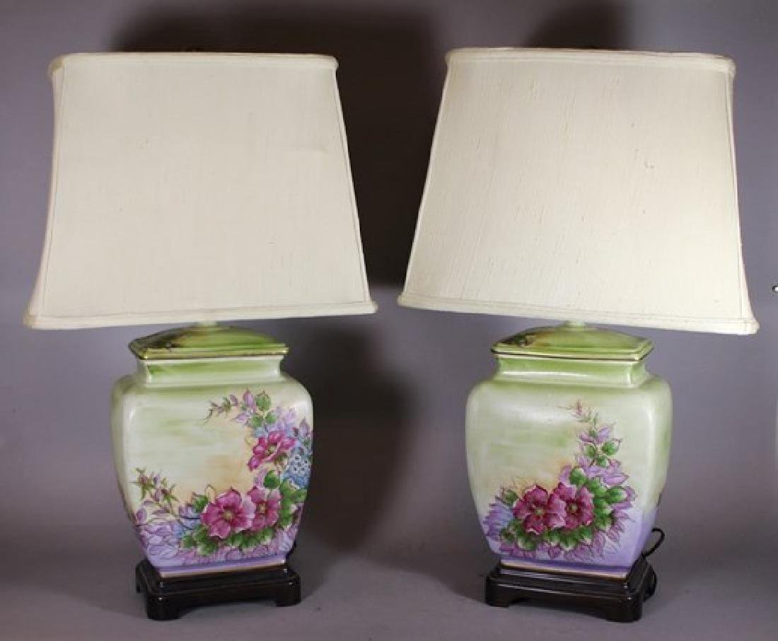 Pair Hand Asian Painted Lamps
