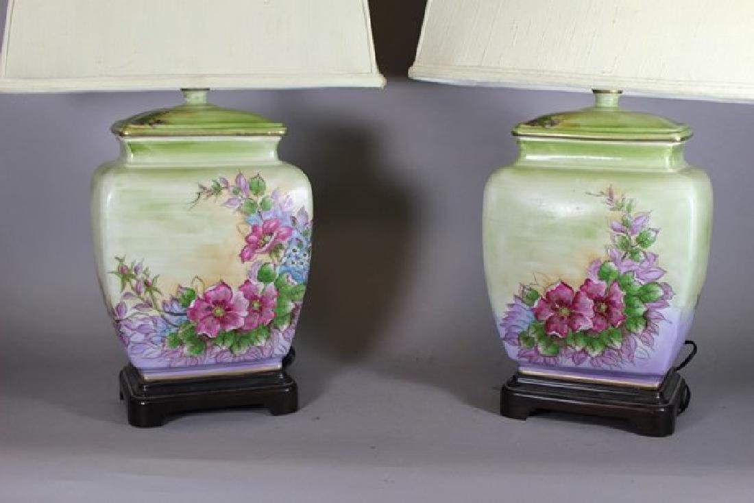 Pair Hand Asian Painted Lamps - 2