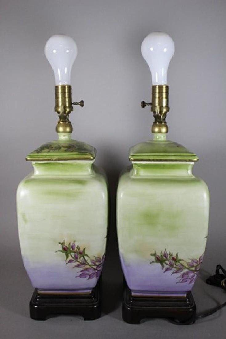 Pair Hand Asian Painted Lamps - 4