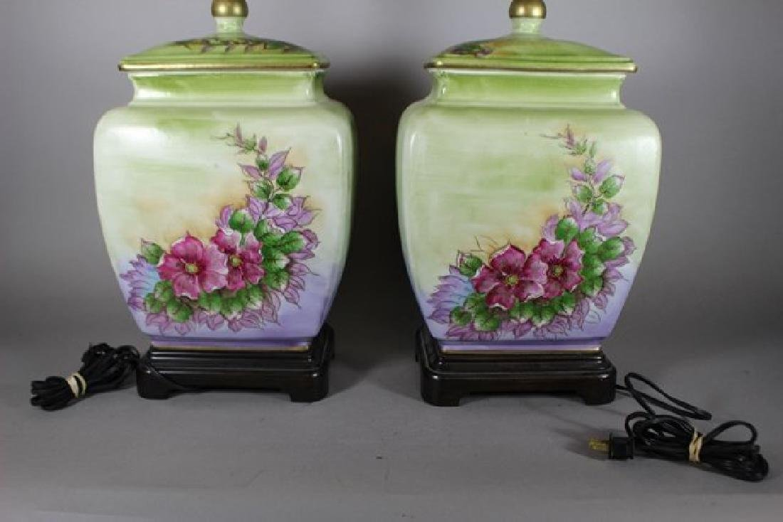 Pair Hand Asian Painted Lamps - 6