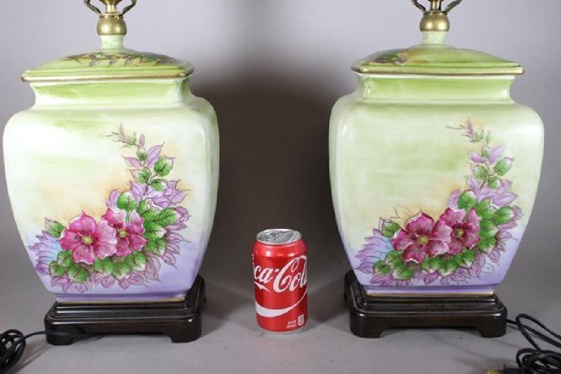Pair Hand Asian Painted Lamps - 9