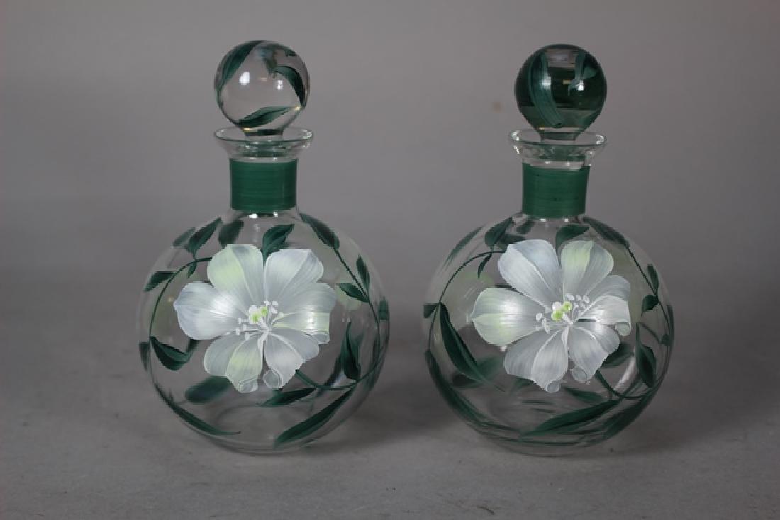 Pair of Hand Painted Perfume Bottles