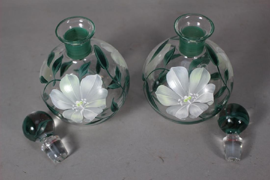 Pair of Hand Painted Perfume Bottles - 4