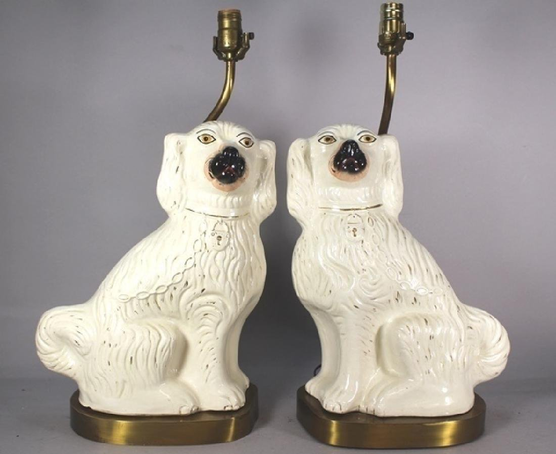 Pair of English Staffordshire Dog Lamps