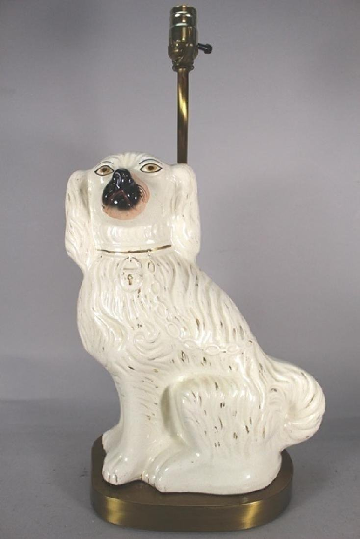 Pair of English Staffordshire Dog Lamps - 2