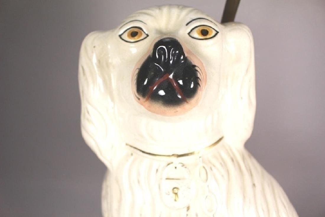 Pair of English Staffordshire Dog Lamps - 3