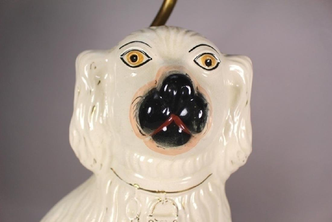 Pair of English Staffordshire Dog Lamps - 6