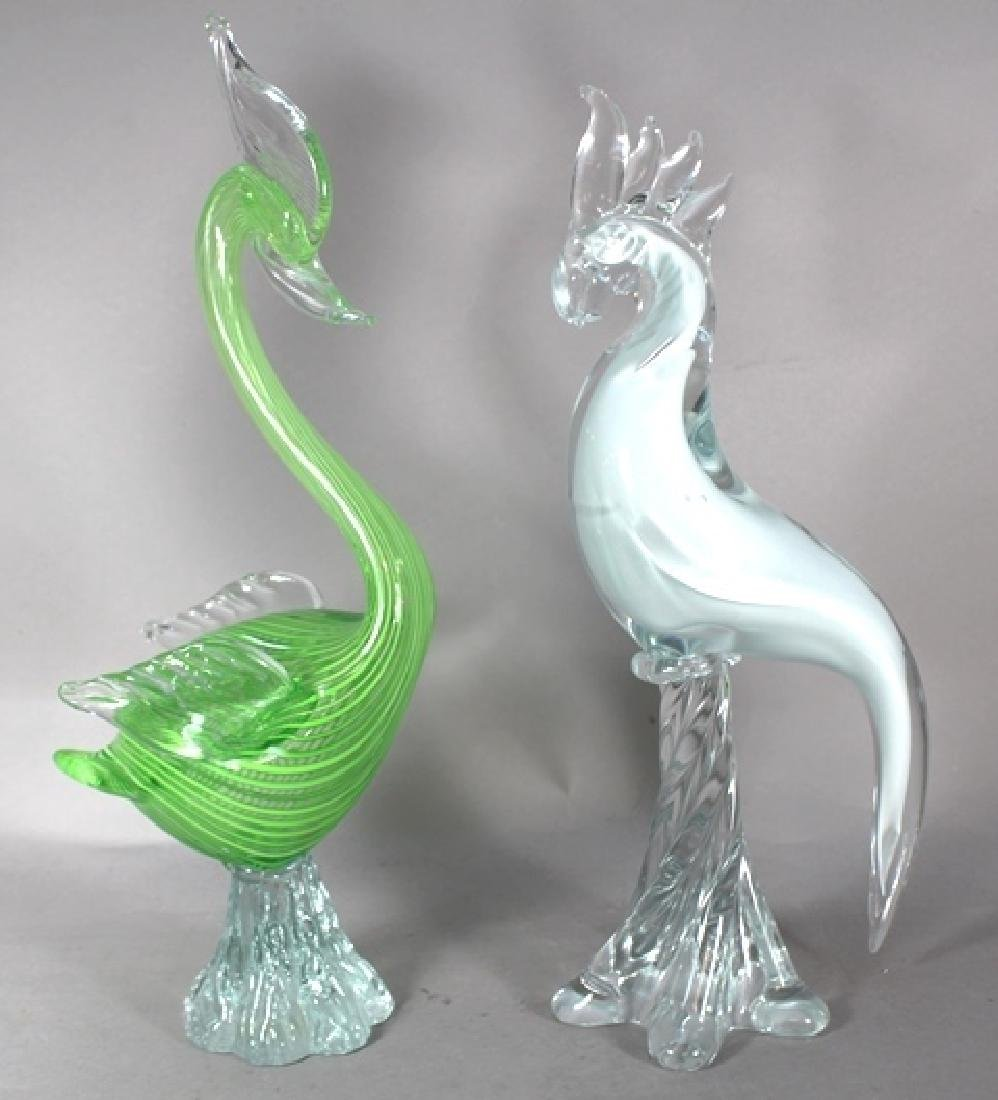 2 Italian Murano Art Glass Birds