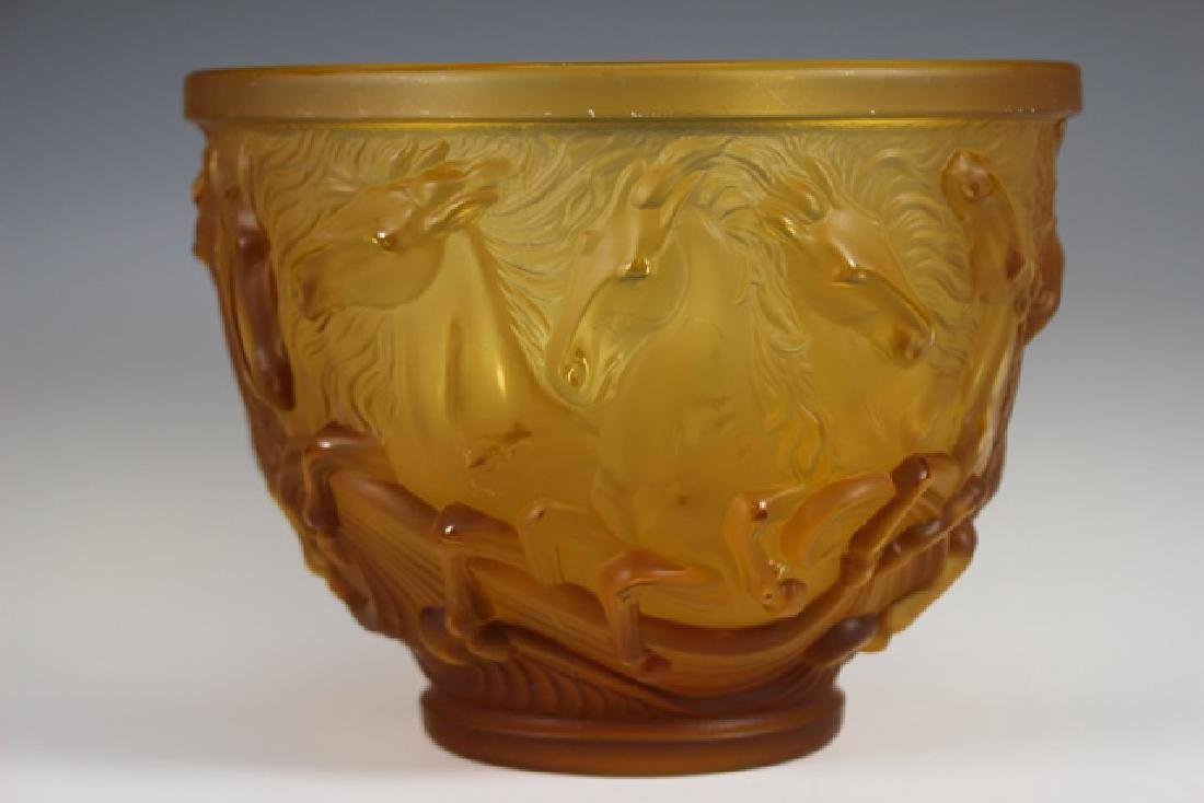 Lalique Style Crystal Horse Bowl