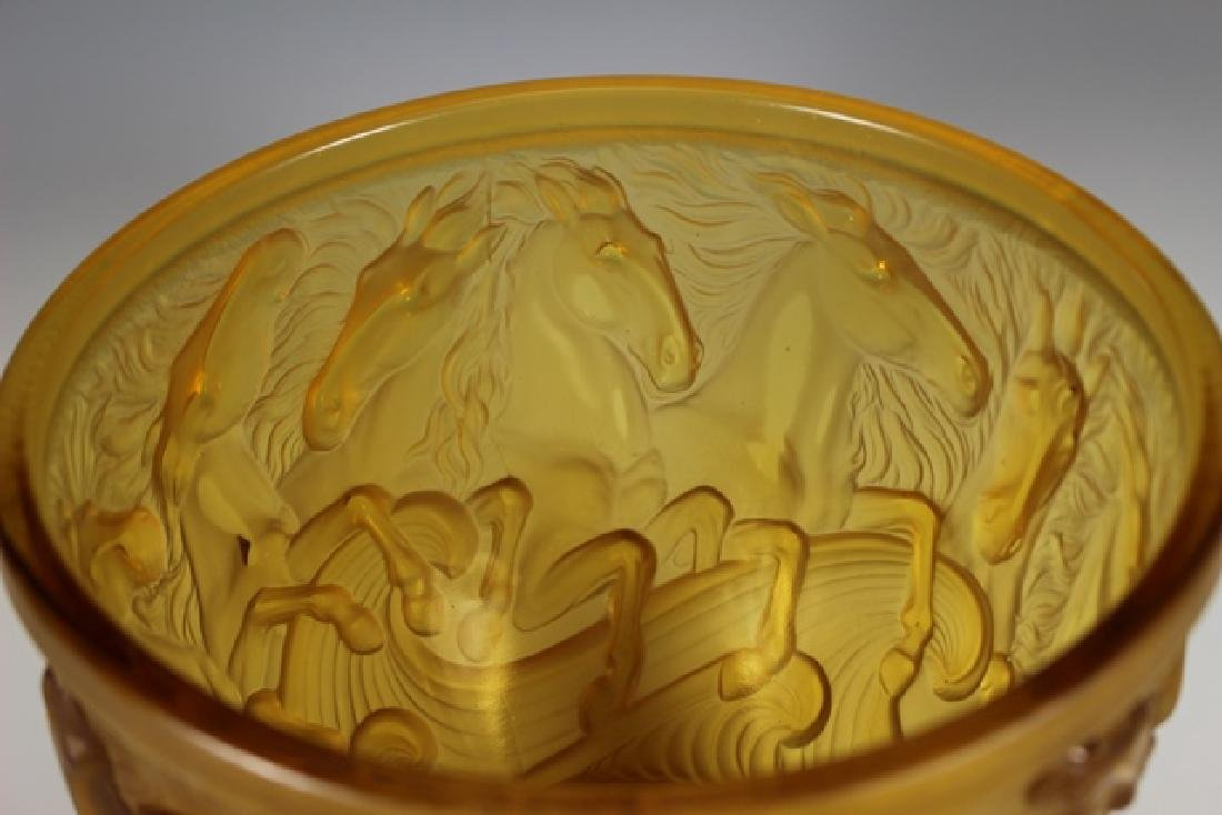 Lalique Style Crystal Horse Bowl - 4
