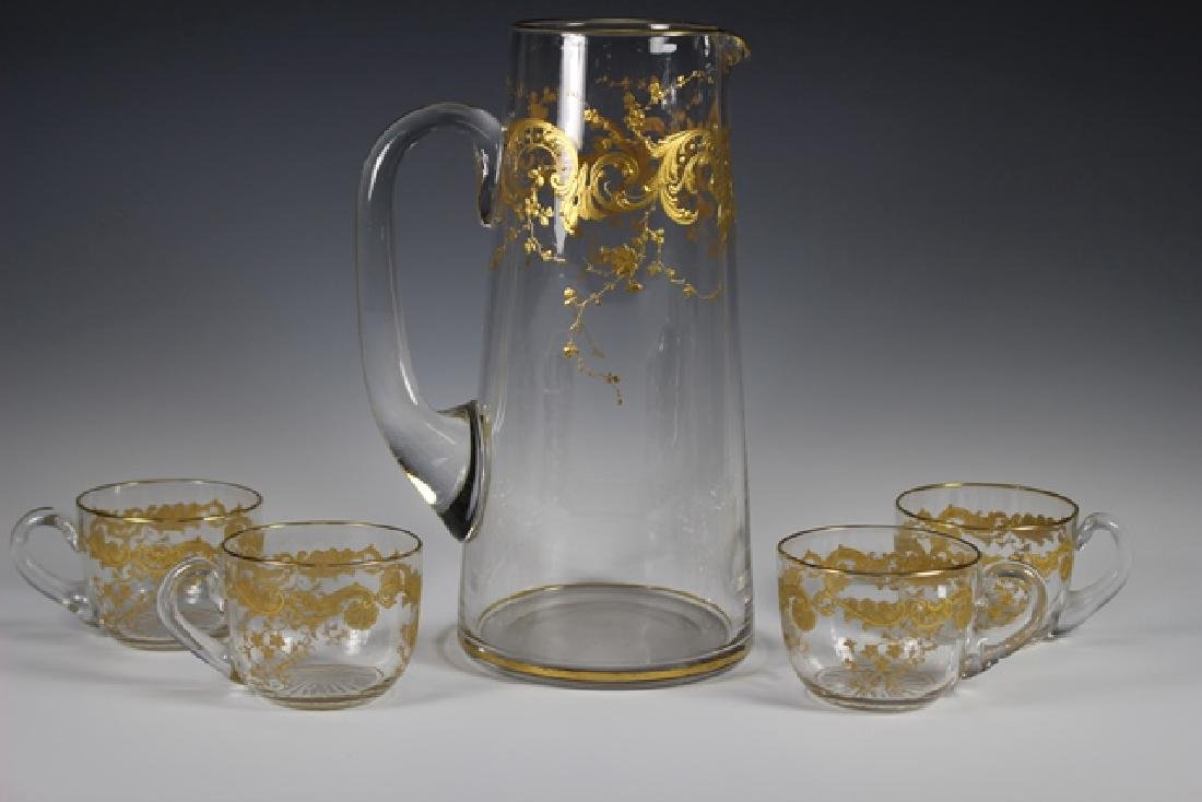 Five Piece Moser Pitcher And Glass Set