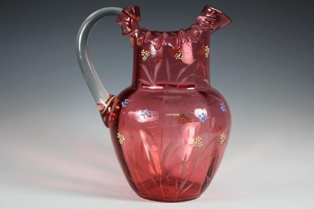 French Cranberry Serving Pitcher