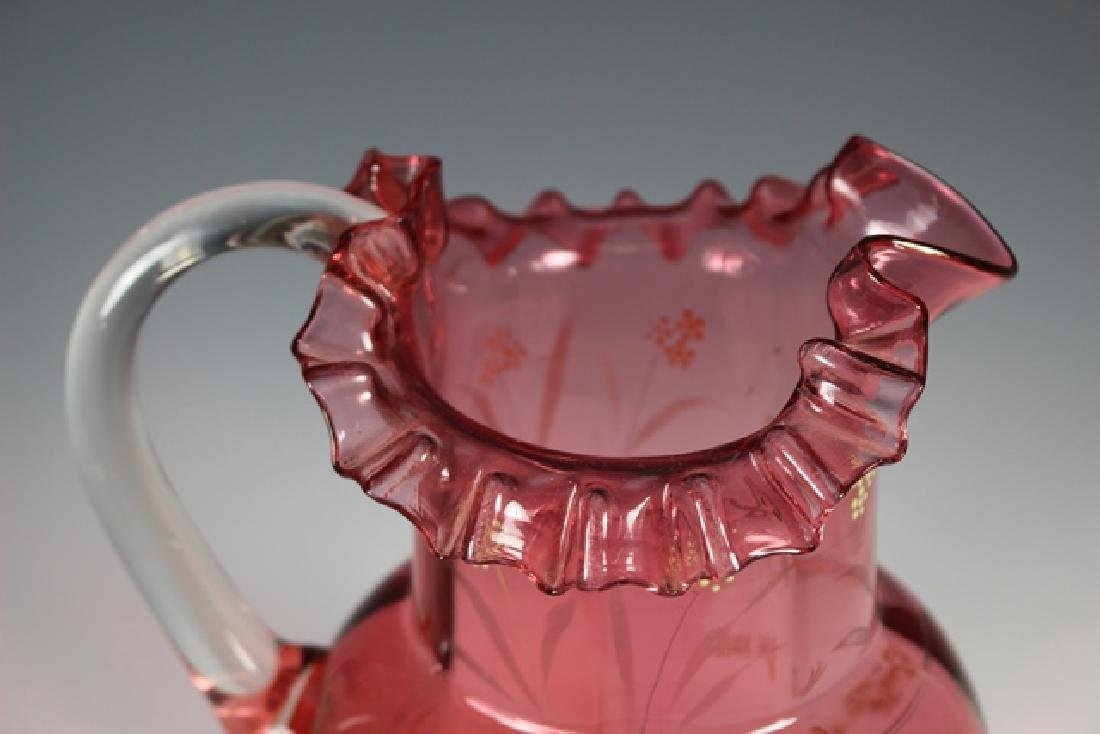 French Cranberry Serving Pitcher - 2