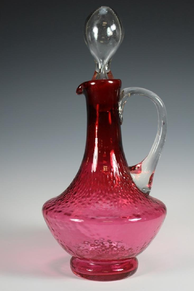 French Enameled Cranberry Glass Pitcher - 2