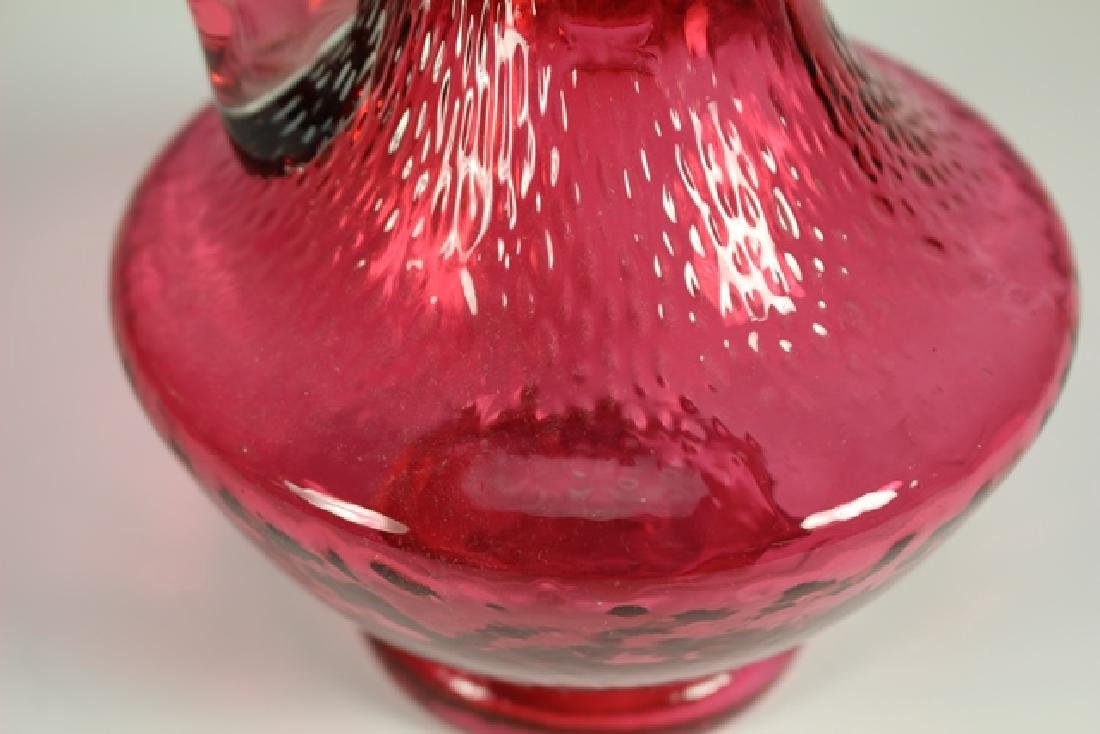 French Enameled Cranberry Glass Pitcher - 6