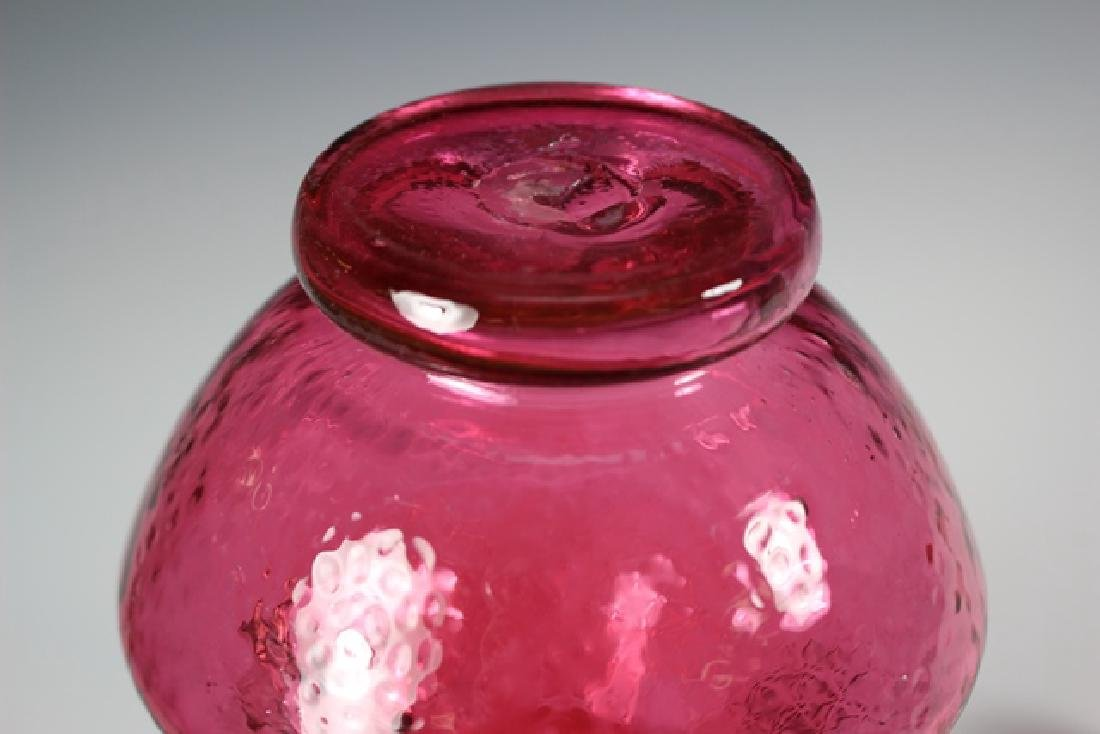 French Enameled Cranberry Glass Pitcher - 8