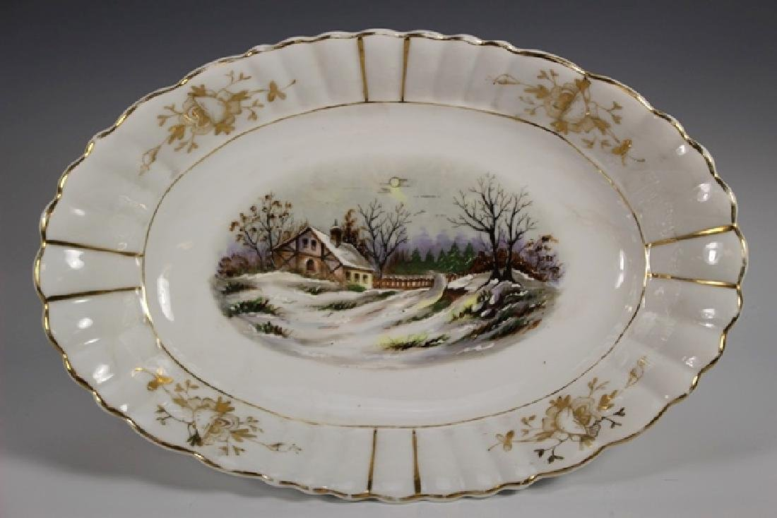 19th Century English Hand Painted Serving Bowl