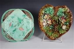 Two English MAJOLICA Plates  19th Century