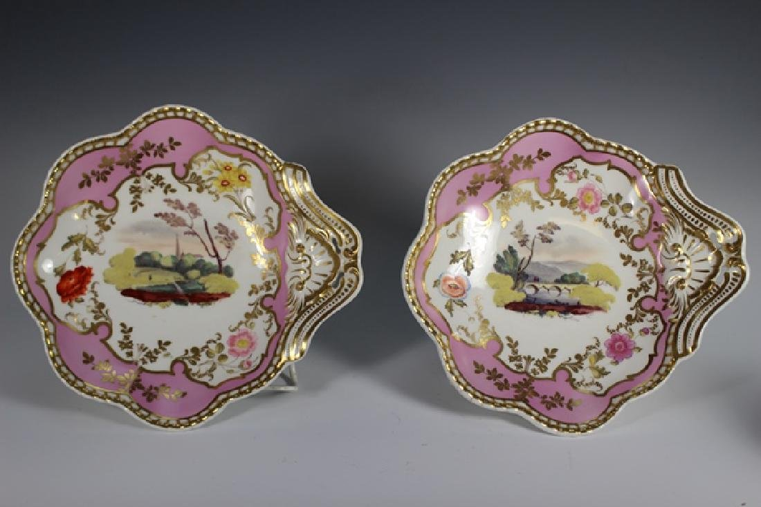 Pair of 1824 SPODE Felspar Scenic Shell Dishes