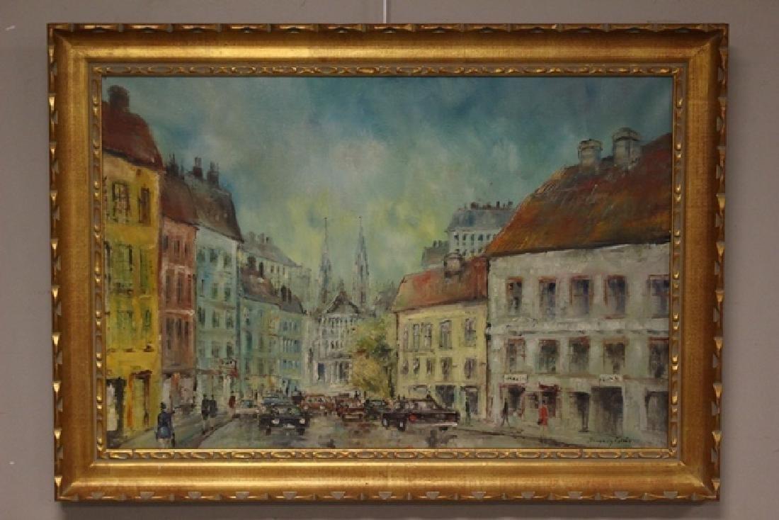 Austrian Artist Hunyadi 1902- of City Street Scene