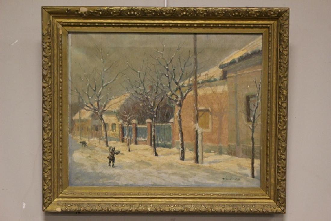Hungarian Artist Imre Nemethi 1900-1980 of Village