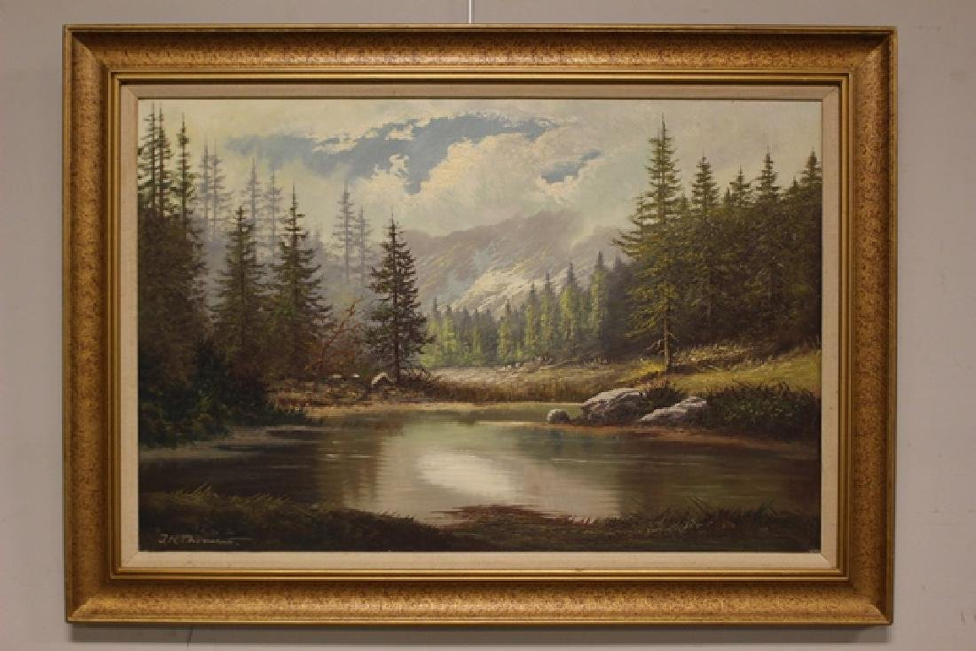 Oil on Canvas by J.H.Thomas of Mountain Scene C. 1960