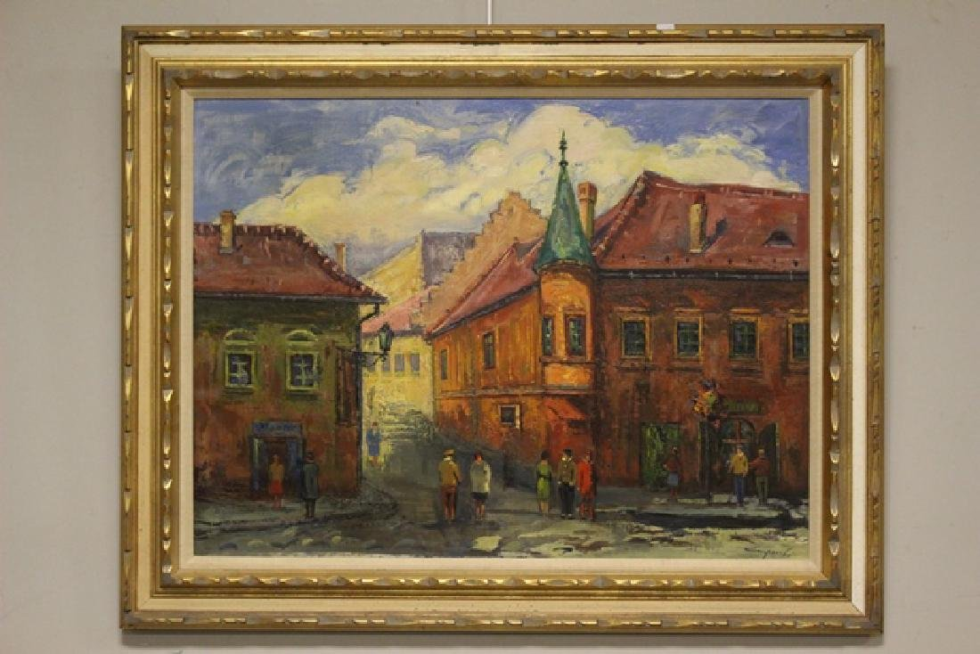Oil on Canvas by Hungarian Artist Collpoi of City