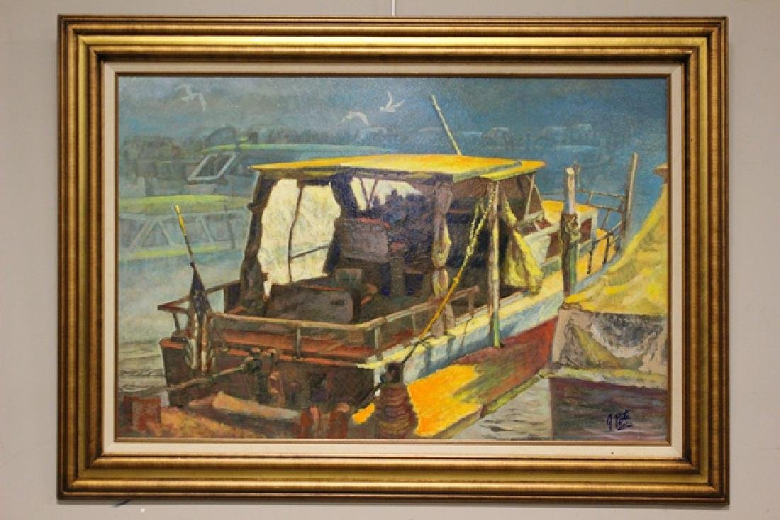 Cleveland Artist John E. Poti Oil on Board of Boat on