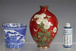 Chinese Cloisonne Vase and Porcelain Group
