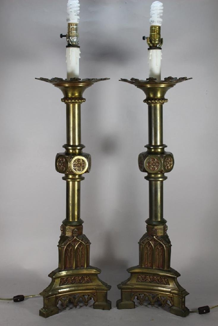 Pair of Bronze Gothic Revival English Candlesticks