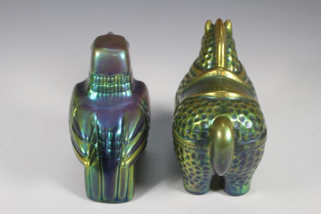 Two (2) ZSOLNAY EOSIN  Iridescent Animals - 6