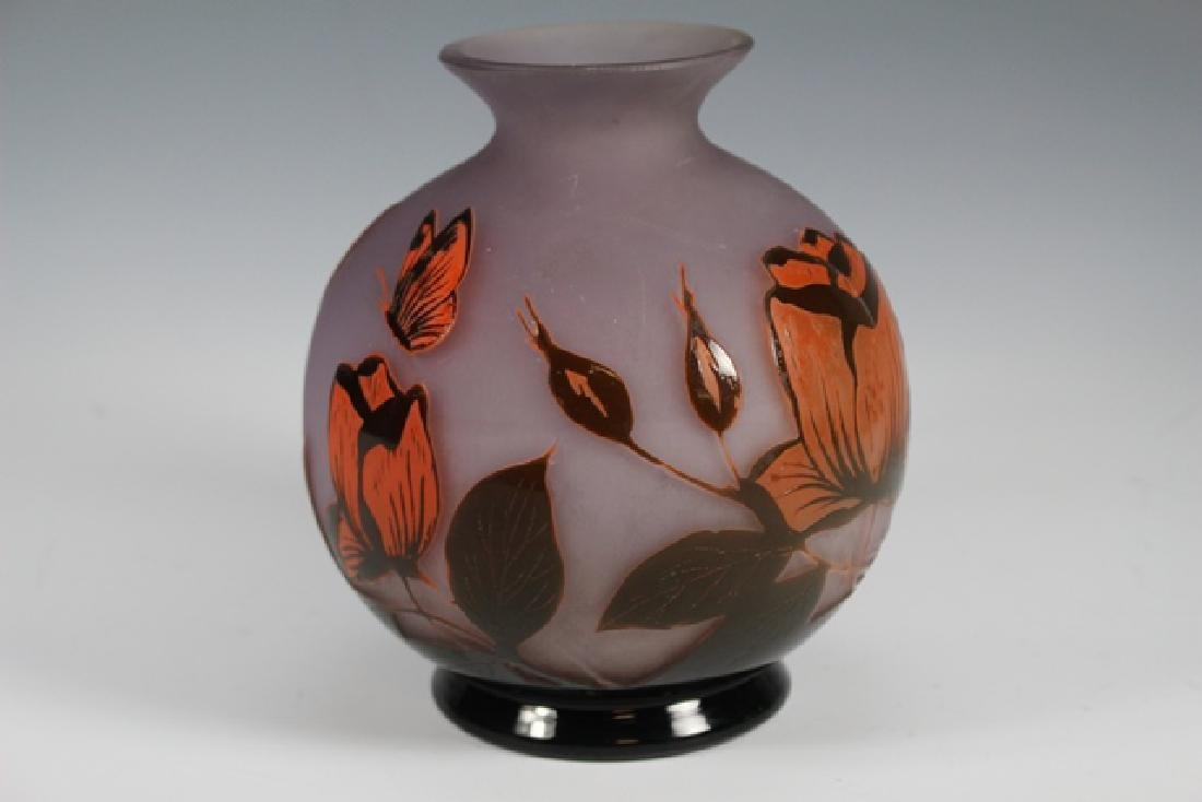 Signed Art Glass Floral Cameo Vase - 4