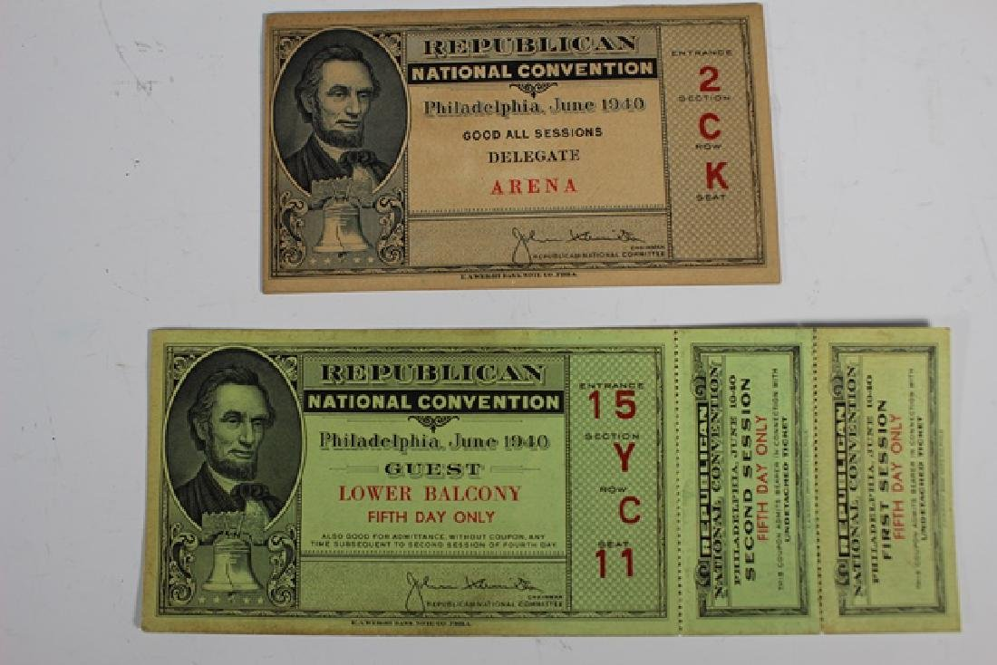 1940 REPUBLICAN National Convention Tickets - 2