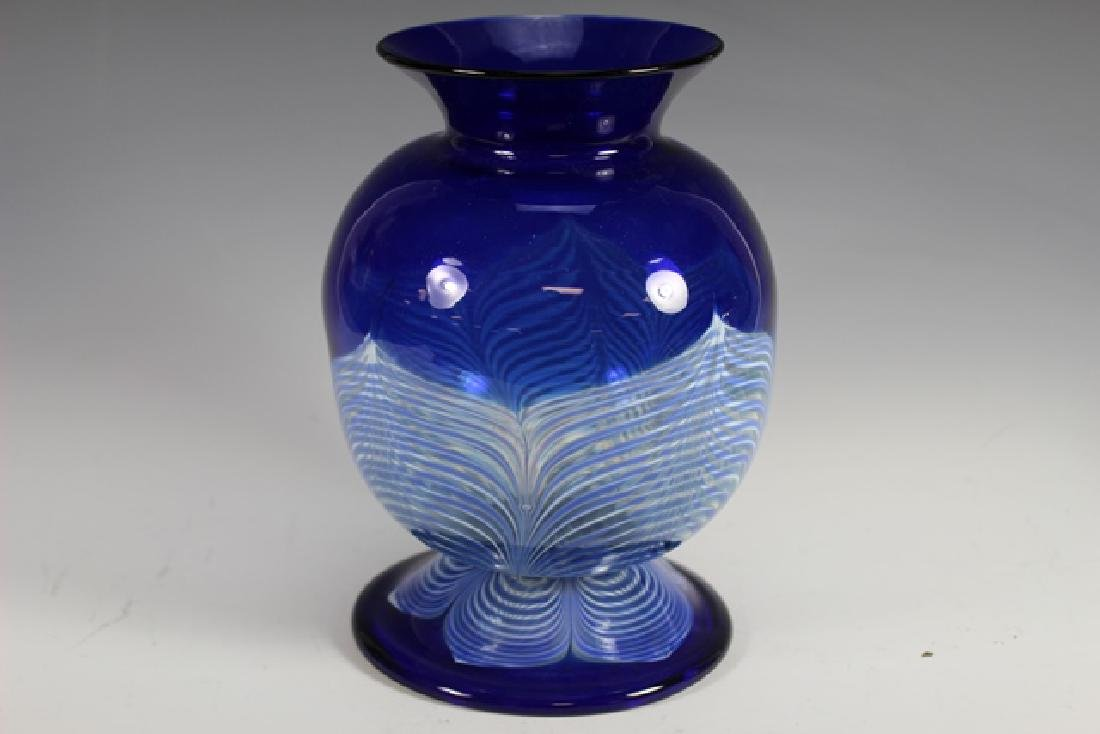 20th century PULLED Feather Art Glass Vase