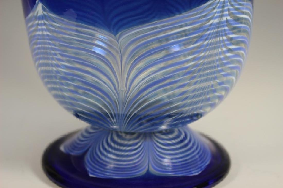 20th century PULLED Feather Art Glass Vase - 4