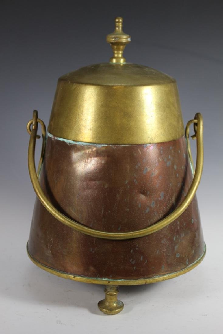 Early 20th Century Copper and Brass Lidded Kettle