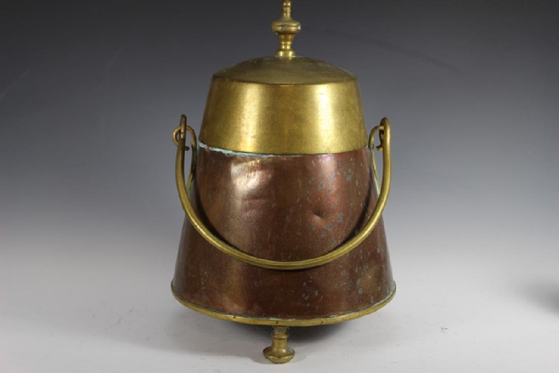 Early 20th Century Copper and Brass Lidded Kettle - 2