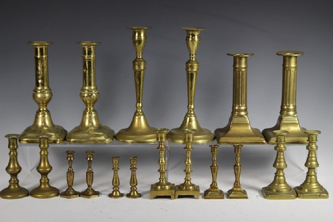 Nine Sets of French Brass Candle Sticks