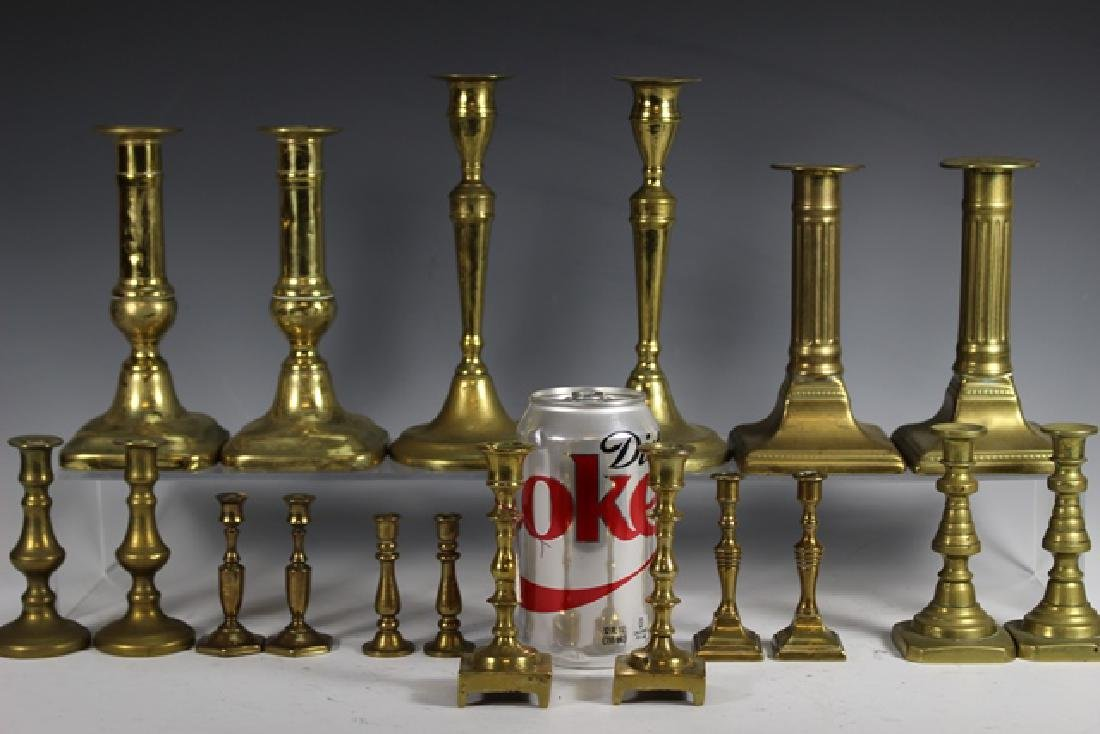 Nine Sets of French Brass Candle Sticks - 2