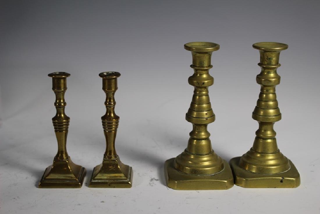 Nine Sets of French Brass Candle Sticks - 4