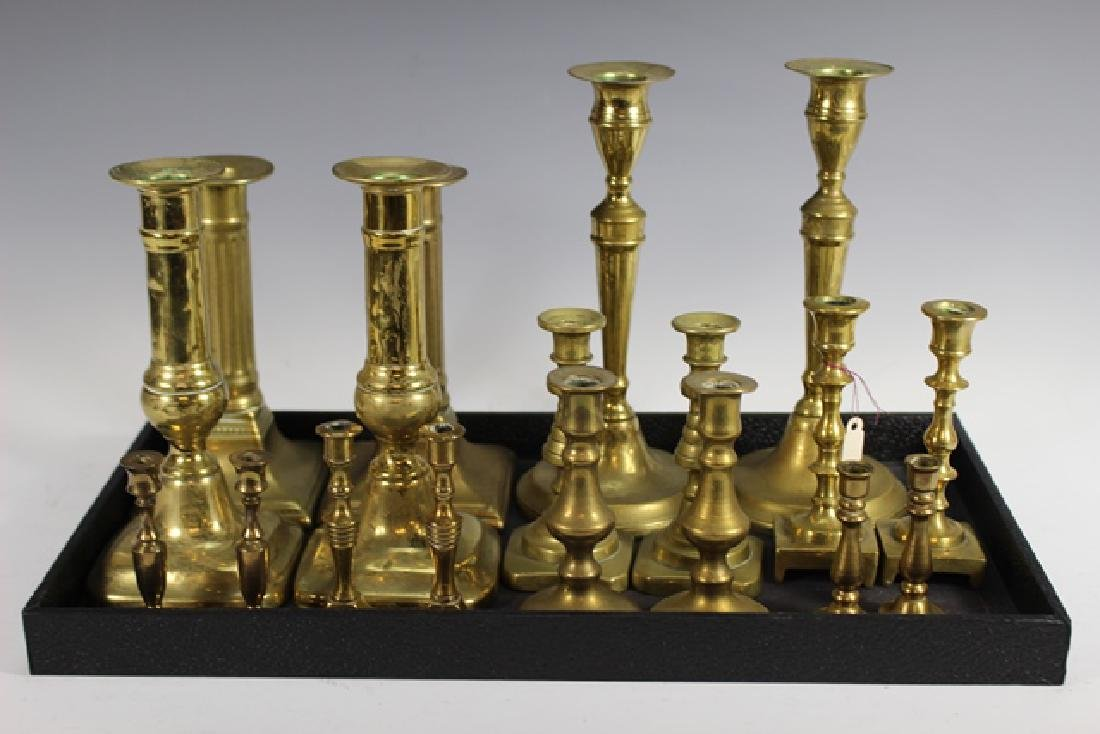 Nine Sets of French Brass Candle Sticks - 7