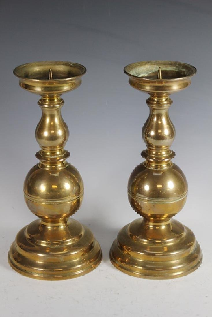 Pair of 19th Century Brass Pricket Candle Sticks - 3