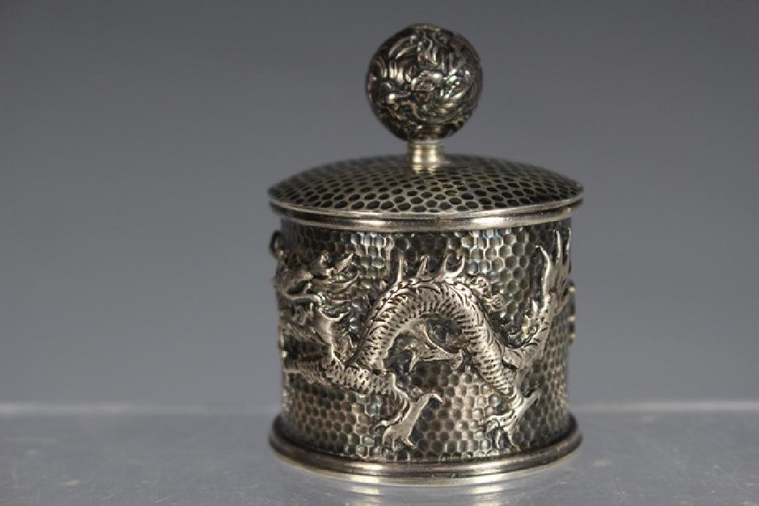 Chinese Dragon Sterling Silver Jar